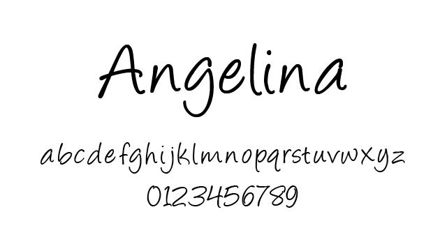 ... 風手書きフォント「Angelina