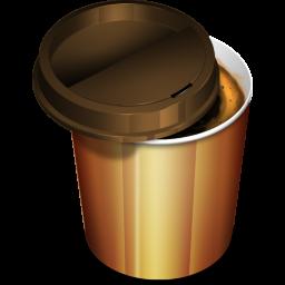 フリー素材 テイクアウトでもらえるような紙カップに入ったコーヒーのアイコン