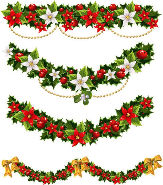 無料素材 ヒイラギと花で作ったキレイなクリスマス飾りのベクターイラスト素材