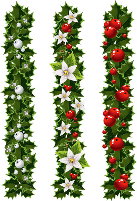 Free vector green christmas garlands