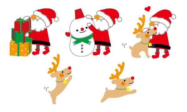 サンタクロースと、トナカイ・雪だるま・トナカイを描いたかわいいイラスト