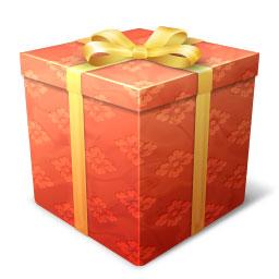 フリー素材 花柄模様の包装紙がかわいいプレゼント箱のイラストアイコン