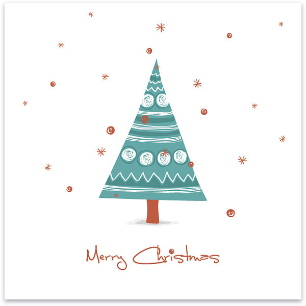 クレヨン風の手描き感がかわいいクリスマスカードのイラストテンプレート
