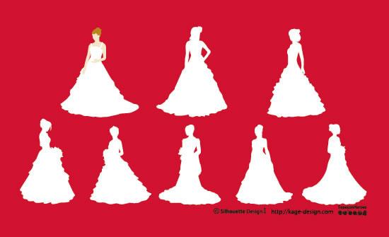 フリー素材 ウェディングドレスを着た花嫁のシルエットをデザインしたベクターイラスト素材