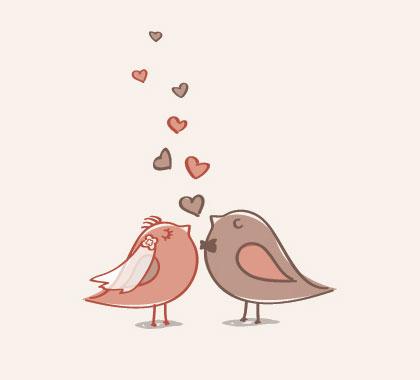 無料素材 結婚式をテーマにしたウェディングベールや蝶ネクタイをした鳥の新郎新婦のイラスト