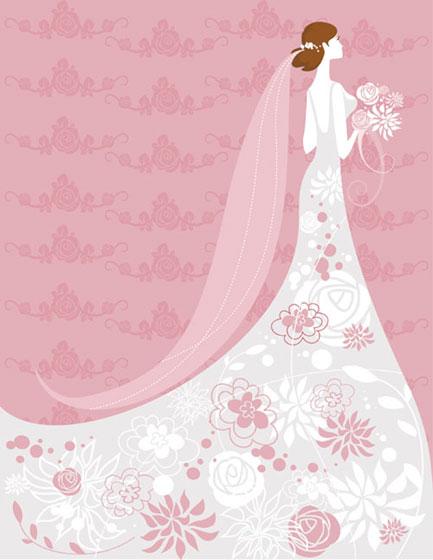 白いウェディングドレスの女性とバラ柄のピンクの背景がかわいい結婚式