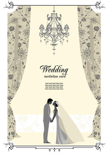 748d56549c1f4 新郎新婦やシャンデリアがロマンチックな結婚式のベクターイラスト素材