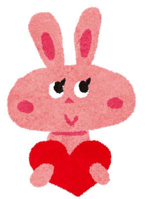 大きなハートを抱えたウサギのかわいいバレンタインデーイラスト