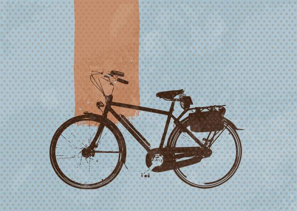 自転車の 自転車 素材 イラスト : 素材 | ドット柄の背景に自転車 ...