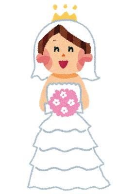 ウェディングドレスを着たかわいい花嫁のイラスト。胸元にはピンク色の