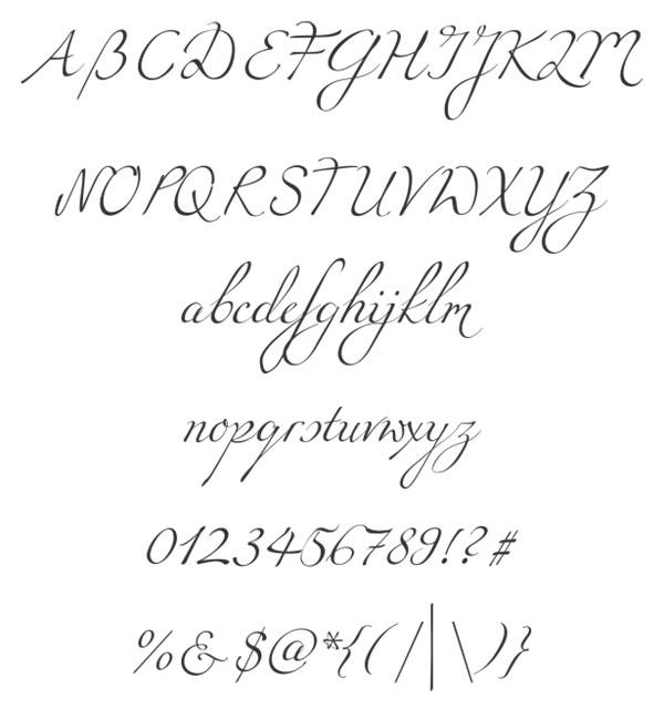 なめらかなラインがエレガントな筆記体フォント。大文字・小文字・数字・
