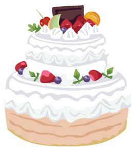 イチゴやメロンなどのフルーツが乗ったウェディングケーキのイラスト