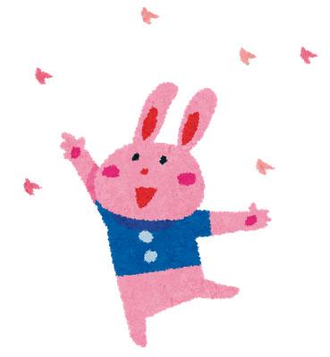 桜吹雪とうさぎのキャラクターをモチーフにしたお花見のイラスト
