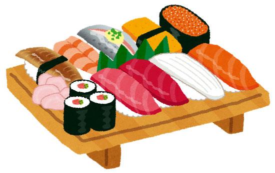 握り寿司の盛り合わせを描いたイラスト。寿司下駄の上に並べられたネタが美味しそう。