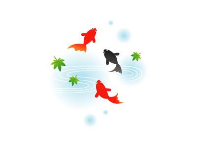 フリー素材 赤と黒の金魚を描いたイラスト 優雅に泳ぐ姿が綺麗