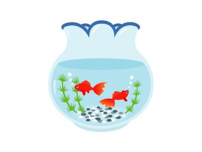 無料素材 金魚鉢を描いたフリーイラスト 涼しげな水色に金魚の赤が映えて綺麗