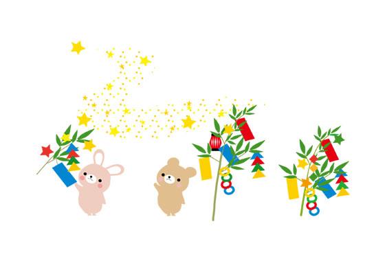 無料素材 クマやウサギなどのかわいい動物で七夕をデザインした