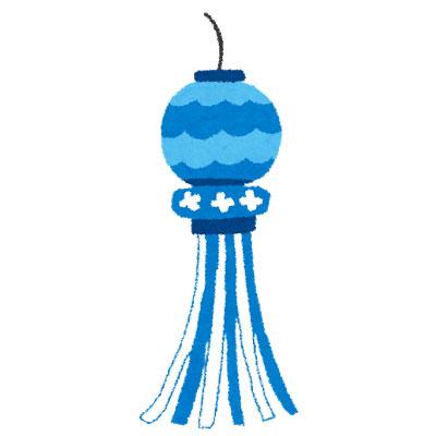 フリー素材 仙台の七夕祭りで使われるような青い七夕飾りを描いた