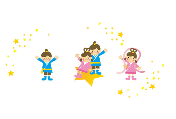 七夕の織姫と彦星を描いたフリーイラスト素材セット キラキラした星が綺麗なデザイン