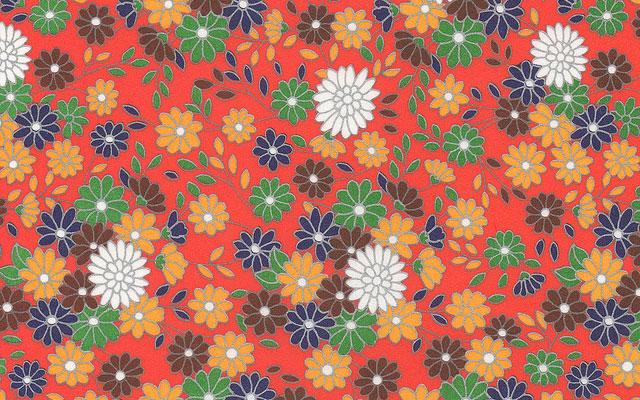 花 折り紙 季節の花 折り紙 : たくさんの花を散りばめた和風 ...