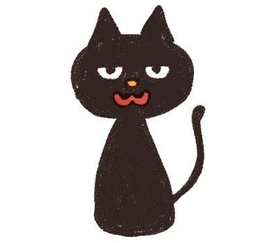 デフォルメしたかわいい黒猫のキャラクターを描いたイラスト