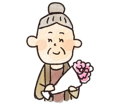 無料素材 敬老の日に花束をプレゼントされたおばあちゃんを描いたイラスト