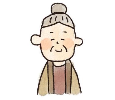 フリー素材 やさしい表情がリラックスした雰囲気のおばあちゃんのイラスト 敬老の日のデザインに