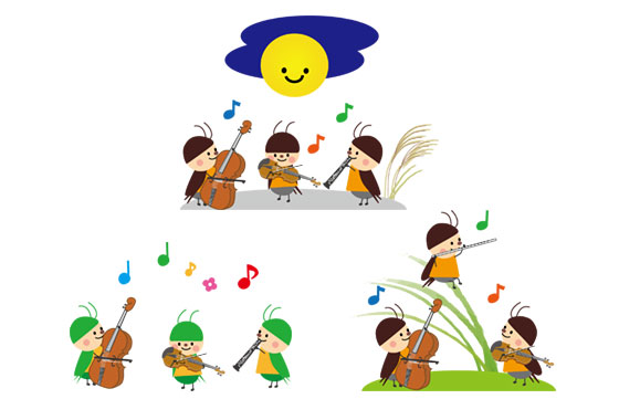 フリー素材 秋の虫たちの音楽会を描いた可愛いイラスト バイオリン