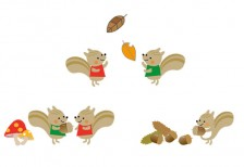 free-illustration-set-cute-automne-squirrel
