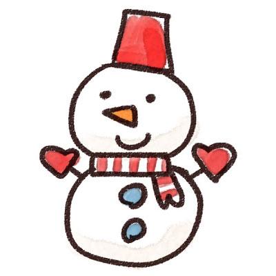 フリー素材 サンタさんのような格好をした雪だるまを描いたイラスト画像 手描き感たっぷりのラフなタッチ