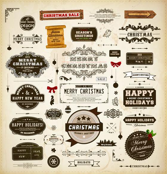 レトロでおしゃれなクリスマスの題字のベクターイラスト