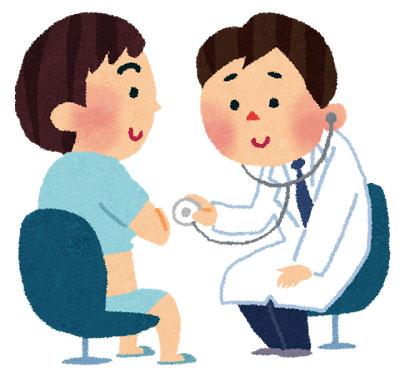 無料素材 聴診器を使って患者の診察するお医者さんのイラスト 病院