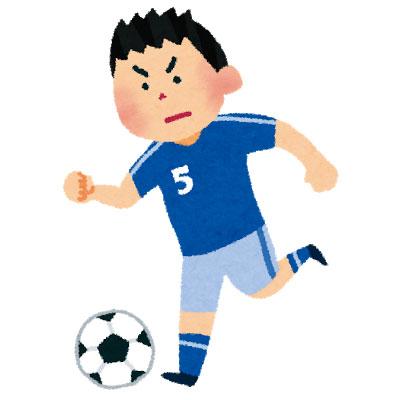 ドリブルするサッカー選手のイラスト。サッカーやワールドカップがテーマのデザインに。