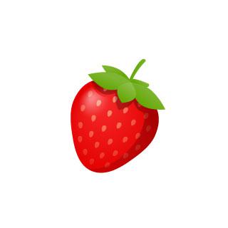 無料素材 イチゴを描いた可愛いイラストアイコン 光沢感のあるグラデーションが綺麗