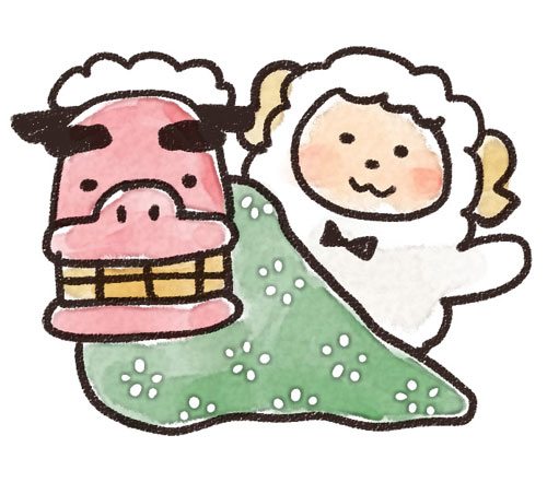 無料素材 獅子舞と羊をゆるいタッチで描いたイラスト 15年未年のお正月デザインに