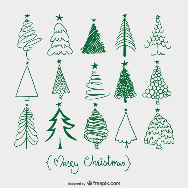 クリスマスツリーをアウトラインで描いたスケッチ風ベクターイラスト