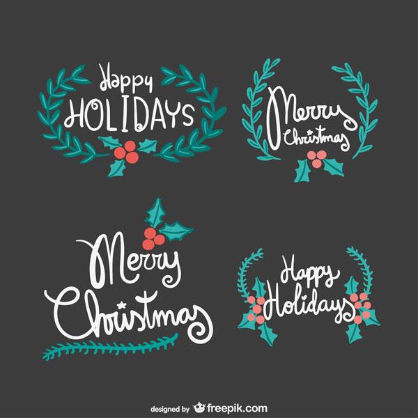 手書き文字と柊でデザインしたクリスマスのレタリング文字のベクターイラスト