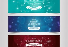 free-vector-vintage-vhristmas-and-new-year-banners