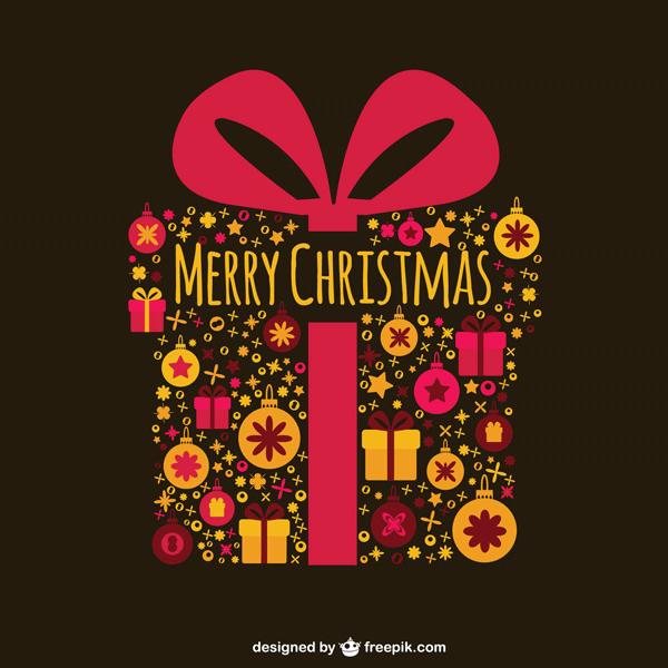 フリー素材 星やクリスマスボールで象ったプレゼントの可愛いベクター