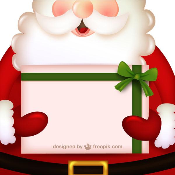 無料素材 プレゼントを持ったサンタクロースが可愛いクリスマスカード