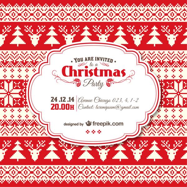 無料素材 トナカイとモミの木のクリスマスパーティの招待状のベクター