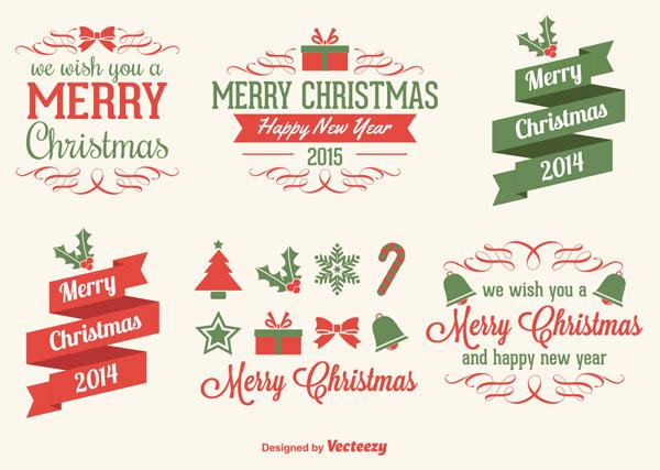 クリスマスデザインに使えるお洒落なベクターラベルイラスト