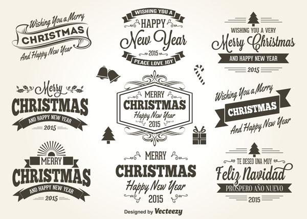 クリスマスをイメージしたレトロスタイルのラベルベクターイラスト