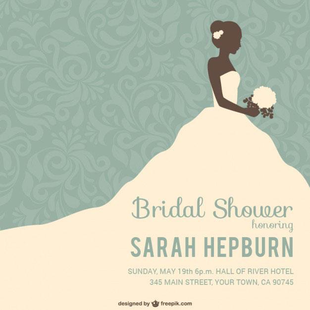 ウエディングドレス姿の花嫁とフローラル柄でデザインしたベクターイラスト