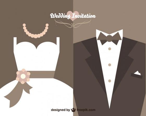 ウェディングドレスとタキシードをフラットデザイン 印刷して使える!お洒落 結婚式招待状カード テンプレート