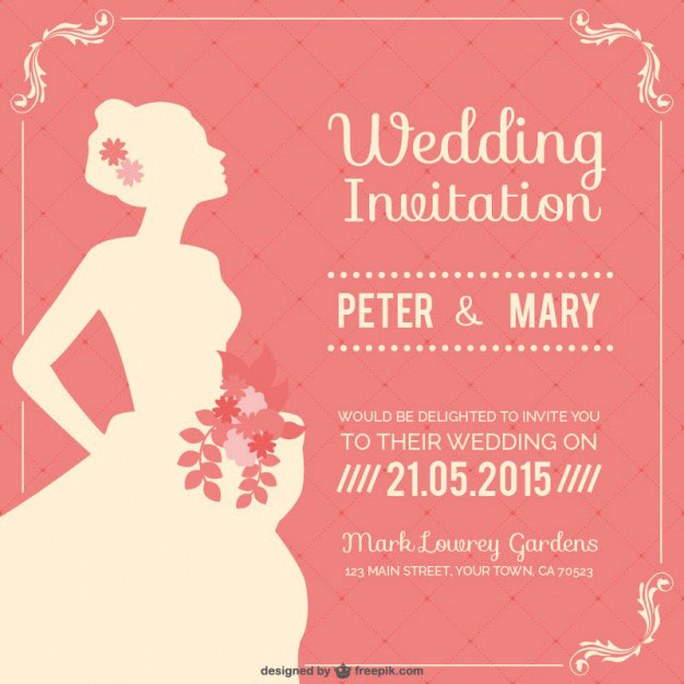 3da03a8204d4c ウェディングドレス姿の花嫁の横顔をデザインした結婚式のベクターイラストテンプレート