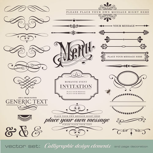 Graphichive Net: ヴィンテージ感のある飾り枠や罫線のお洒落なベクターイラストパーツセット
