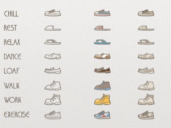 様々な種類の靴をモチーフにした可愛いイラストアイコンセット