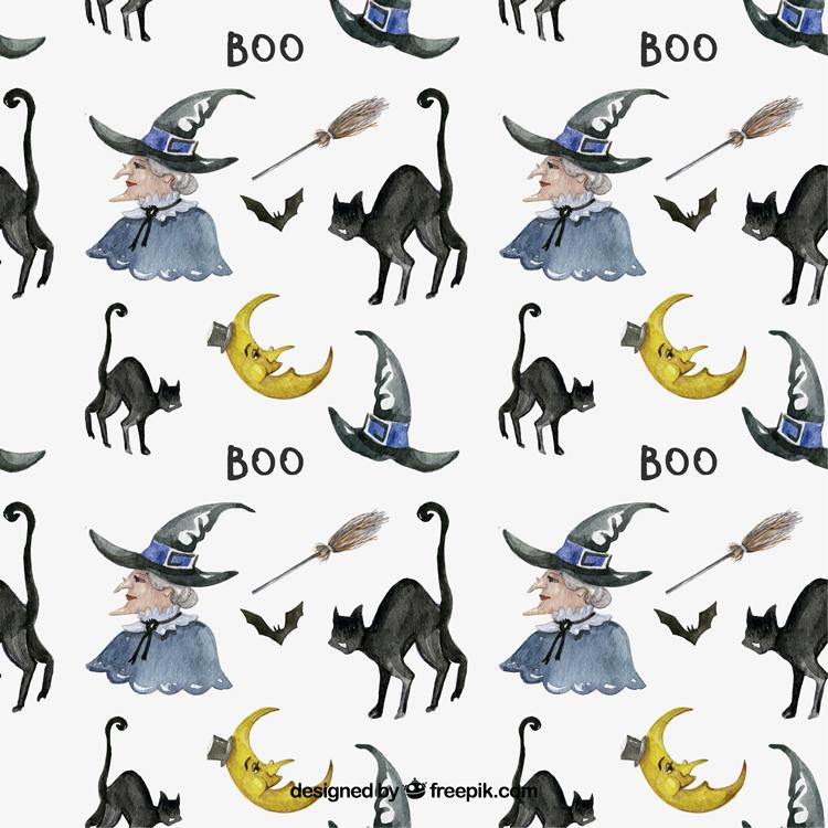 魔女やカボチャに黒猫などの手描きタッチのイラストパターンセット